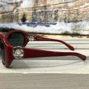 Tiffany & Co red sunnies with crystal clock sides